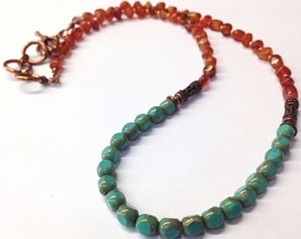 Carnelian Necklace - Copper Necklace - 7th Anniversary Gifts - Copper Jewelry - Turquoise - Long Beaded Necklace - Anniversary Gifts for Her