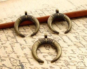 Bronze Crescent Pendants - Set of 4 - 34mm Large Antique Bronze Double Horn Charms - Lead-Free, Nickle-Free, Cadmium-Free (BC0051)
