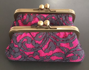 Floral Scroll Charcoal Lace Over Fuchsia Pink Clutch