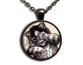20% OFF - Peek a Boo Cat Breed Glass Dome Pendant or with Chain Link Necklace AN142