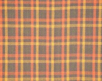 Brown Plaid Homespun Material | Plaid Material | Cotton Material | Rag Quilt Material | Craft Material | Doll Making Material | 1 Yard
