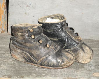 Antique Black Leather Victorian Button Up Hard Sole Baby Toddler Shoes