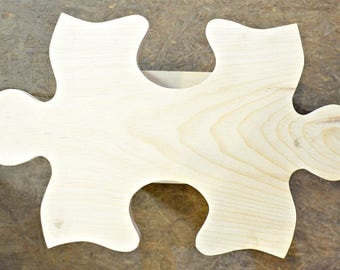 Solid Unfinished Wood  Puzzle Piece Shaped Connection.