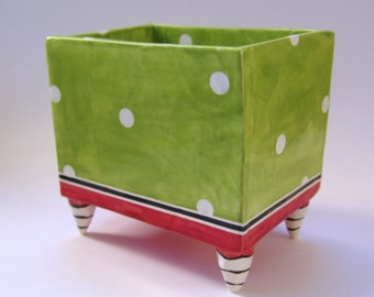 whimsical pottery Dish, Big square ceramic holder for napkins or keurig coffee pods lime green & red w/ striped feet