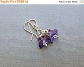 30% OFF SALE Glass Flower Earrings Purple Amethyst Czech Glass Bead Earrings Small Earrings Sterling Silver Floral Jewelry Gift for Her Gift