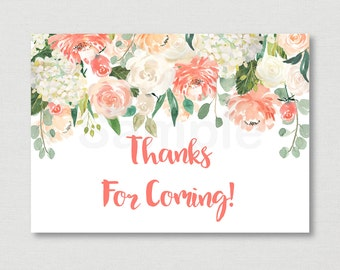Peach Floral Bridal Shower Favor Tags / Floral Thank You Tags / Floral Bridal Shower / Watercolor Floral / Printable INSTANT DOWNLOAD B102