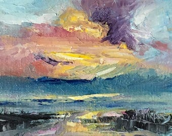 """Oil Painting 4x4"""" Seascape Palette Knife Painting Oil on Canvas"""