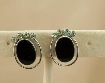 Vintage Carl Art Earrings - Sterling Silver Onyx and Rhinestone Screwback Earrings