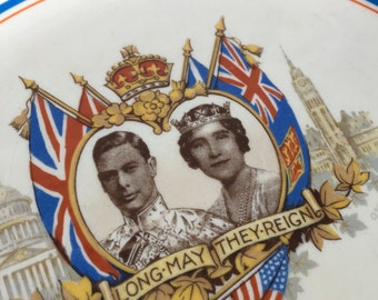 Vintage Souvenir Plate - King George VI Queen Elizabeth -1939 Titian Ware - THE CROWN