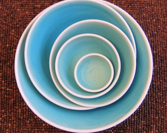Ceramic  Nesting Bowls in Turquoise Blue, Large Set of Pottery Serving Bowls, Wedding Gift, Handmade Wheel Thrown Stoneware