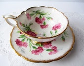 Vintage Royal Stafford Teacup and Saucer Carnation Pink - Lovely Gift