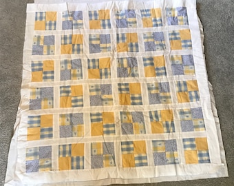 "Blues and Yellows Unfinished Quilt 39"" x 39"" Inc. Top, Batting and Backing"