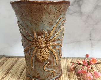 Ceramic Spider and Snakes Tumbler - Spider Pottery Cup - Handmade Stoneware Spider Vase