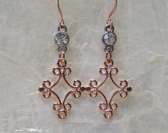 Copper Filigree Earrings, Rhinestone Earrings, Boho, Copper, Dangle Earrings, Copper Earrings