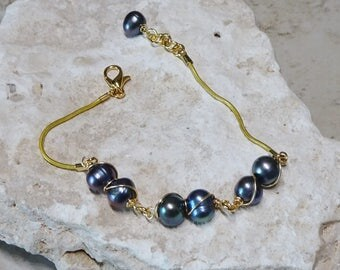 Blue Pearl Bead Bracelet, Blue Freshwater Cultured Pearl Bead Bracelet, Gold Serpentine Chain Bracelet, Wedding Jewelry, Pearl Bracelet