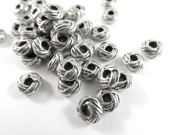 25 Antique Silver Spacers Tibetan Style Donut Beads Large 2mm Hole LF/NF 6x3mm - 25 pc - M7071-AS25