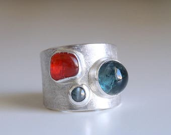 RESERVED . CUSTOM RING . Gemstone ring. Sterling silver ring with Alexandrite, Fire Opal and Aquamarine. Mexican fire opal, moss aquamarine.