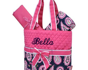Personalized Diaper Bag Paisley Hot Pink Navy Blue Quilted Monogrammed