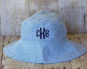Personalized Baby Boy Summer Hat, Blue or Green Seersucker, Sun Hat, Bucket Hat, Monogrammed