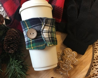 Flannel Coffee Cozy in Blue/Green/White
