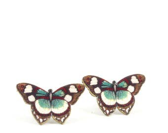 Brown Red Butterfly Stud Post Earrings, Butterfly Studs, Moth Earrings, Insect Earrings, Post Earrings, Shrink Plastic, Small Butterfly