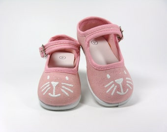 Girl's Kitten Shoes, Pink Mary Jane's, Hand Painted Cat Face Shoes, For Baby or Toddlers, Animal Lovers Gift