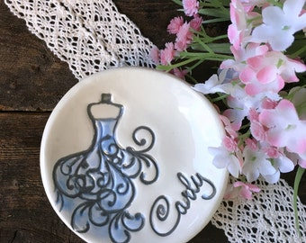 Unique Bridesmaid Gift - Bridesmaid Jewelry Dish with Stylized Bridesmaid Dress Image Personalized with Bridesmaid's Name