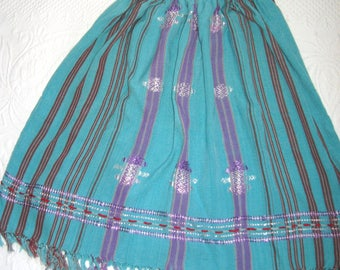 woven skirt . woven rayon skirt . hippie skirt . fringed skirt . turquoise woven skirt . embroidered skirt