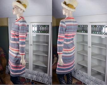 Vintage 60's scooter dress, hipster mod dress, early 60's dress, 60's stewardess dress, 60's stripe dress, mock turtleneck, 60's striped