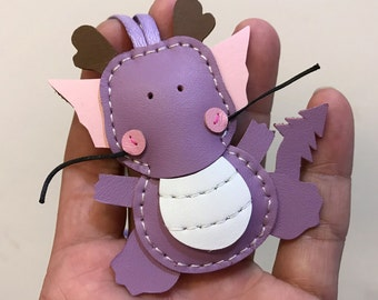 Small size - Puff the Dragon cowhide leather charm ( Light purple )