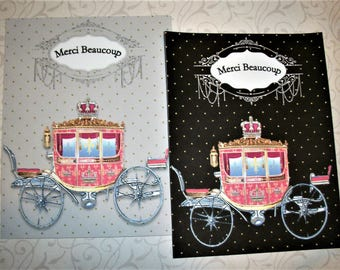 MERCI BEAUCOUP - Cinderella Carriage  - Set of 4 romantic notecards with envelopes - Princess Coach - Thank you cards - MBN 778