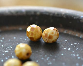 Popping Corn - Premium Czech Glass Beads, Opaque White, Speckled Picasso Finish, Facet Firepolish Rounds 8mm - Pc 10