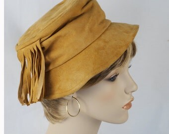 Vintage 1970s Hat Tan Suede with Side Fringe Hippie BoHo by Dorsay Sz 21