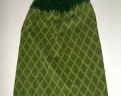 Green Hanging Towel, Hanging Kitchen Towel, Crochet Top Towel, Diamond Design, Plush Thick Towel, Hanging Hand Towel, Kitchen Dish Towel