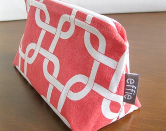 Cosmetic Bag. Coral Zippered Pouch. Toiletry Bag. Zipped Makeup Pouch. Gift Idea for Her. Travel Accessories. Birthday Gifts for Women