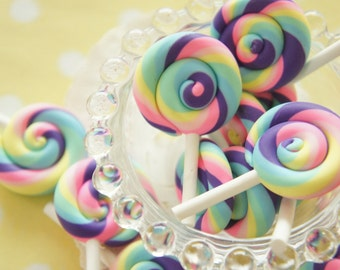 6 pcs Polymer Clay Rainbow color Lollipop Candy Cabochon (30mm50mm) CD648