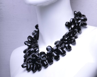 Black Onyx Two Strand Gemstone Statement Necklace