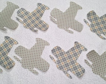 Set of 8 Iron-On Fabric Airplane Appliques