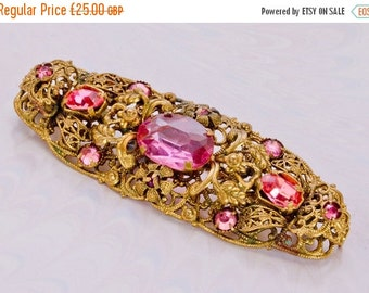 NOW  ON SALE Ornate Art Deco, Czech Pink & Mauve,Rhinestone Filigree Brooch/Pin,Spring Summer Jewellery,Gift For Her,1920s