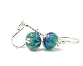 Teal Flower Earrings | Peacock Petal Lampwork Glass Earrings in Sterling Silver | Glass Drop Earrings | Petal Collection UK