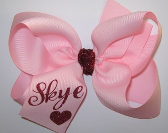 Custom XL Pretty in Pink Glitter Name Monogram Extra Large King Size Grosgrain Hair Bow