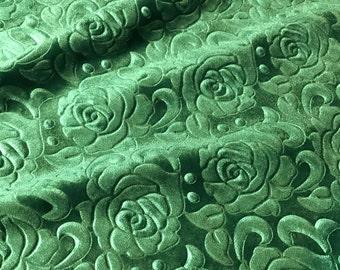 Emerald Green Roses - EMBOSSED Velvet Fabric - 1 Yard