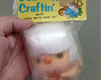 Angie Head and Hands , Doll Head and Hands Set, Yarn Hair ,3 1/2 inches ,No. 164-31 ,Doll Craftin ,White Hair