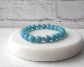 Blue Jade Bracelet / Sterling Silver Stone Bracelet Blue / Blue Jade Stretch Bracelet / Stone Stacking Bracelet