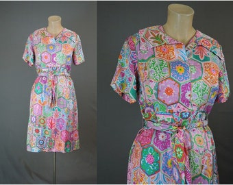 Vintage 1960s Bright Print Silk Dress by Shannon Rodgers for Jerry Silverman, 36 bust, 30 waist