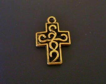 Scroll Cross Charm - Gold Tone Pewter - Low Shipping