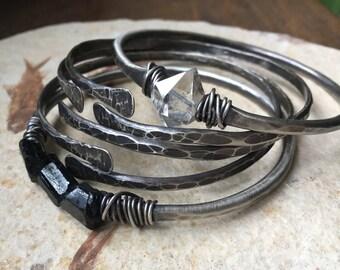 Sterling Silver Bangles / Silver Bracelets / Bangle Set / Stacked Silver Bracelets / DanielleRoseBean / Sterling Bangles