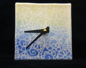 Flower Doily Clock, Glass Clock, Fused Glass Clock, Blue and Yellow Clock, Square Clock, Wall Clock