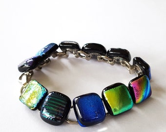 Link Bracelet, Dichroic Glass Jewelry, Fused Glass Jewelry, Dichroic Bracelet, Multicolor, Contemporary Jewerly, Handmade in USA
