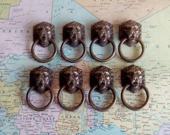 SALE! 8 vintage goldtone metal lions head pull handles